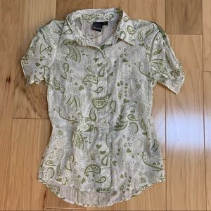 Volcom White Green Button Down SS Top